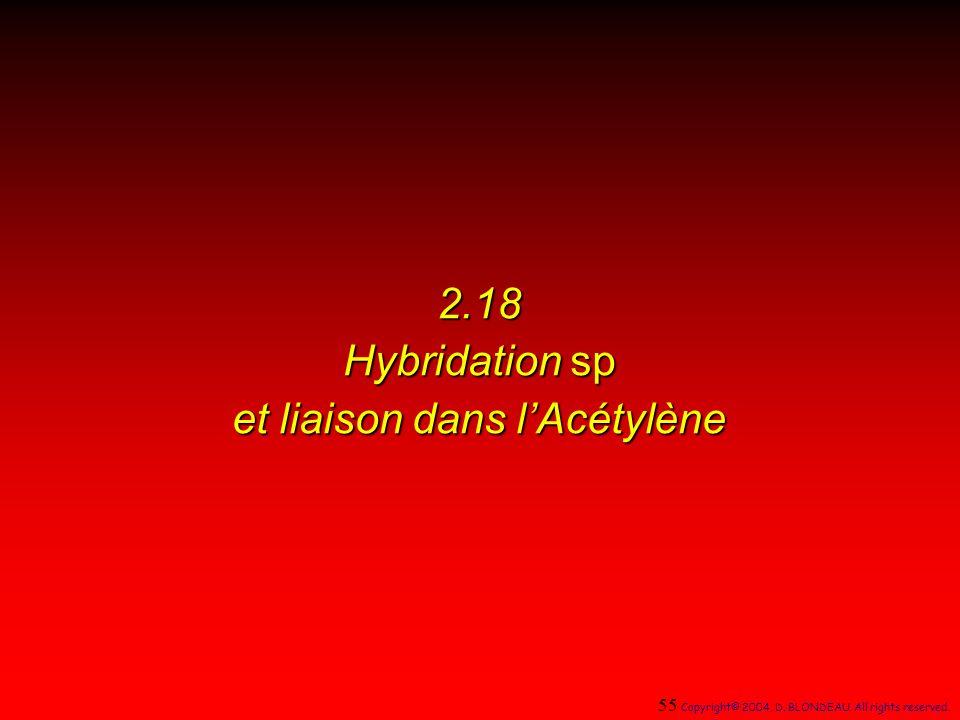 2.18 Hybridation sp et liaison dans lAcétylène 55 Copyright© 2004, D.