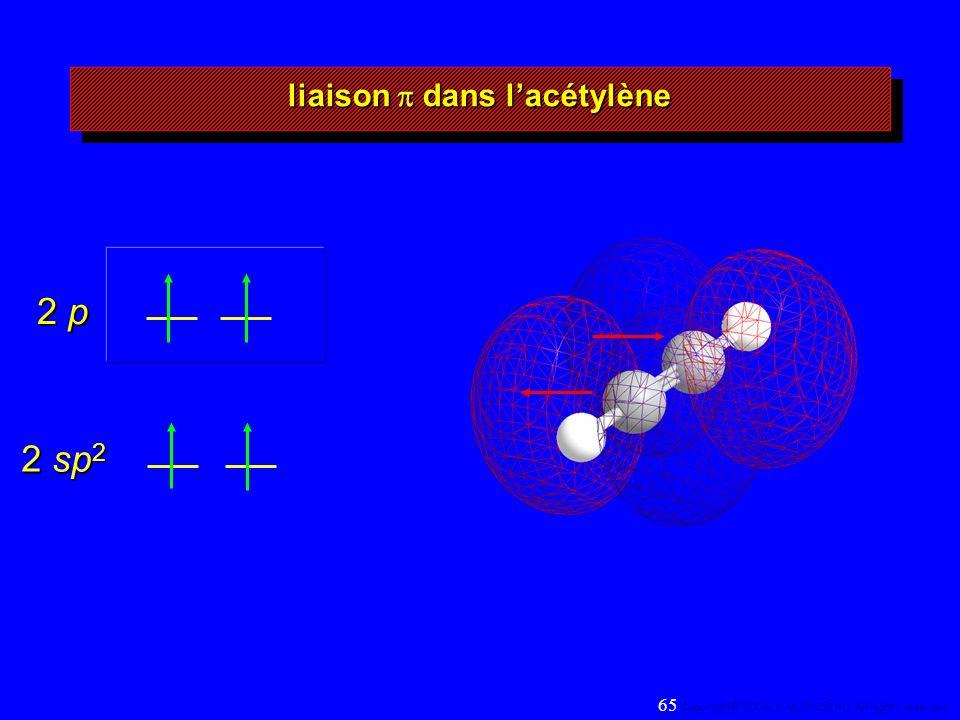 2 sp 2 2 p liaison dans lacétylène 65 Copyright© 2004, D. BLONDEAU. All rights reserved.