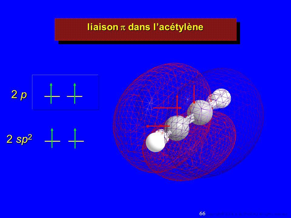 2 sp 2 2 p liaison dans lacétylène 66 Copyright© 2004, D. BLONDEAU. All rights reserved.