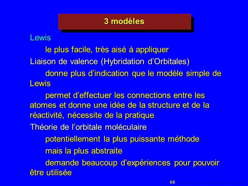 3 modèles Lewis le plus facile, très aisé à appliquer Liaison de valence (Hybridation dOrbitales) donne plus dindication que le modèle simple de Lewis permet deffectuer les connections entre les atomes et donne une idée de la structure et de la réactivité, nécessite de la pratique Théorie de lorbitale moléculaire potentiellement la plus puissante méthode mais la plus abstraite demande beaucoup dexpériences pour pouvoir être utilisée 68 Copyright© 2004, D.