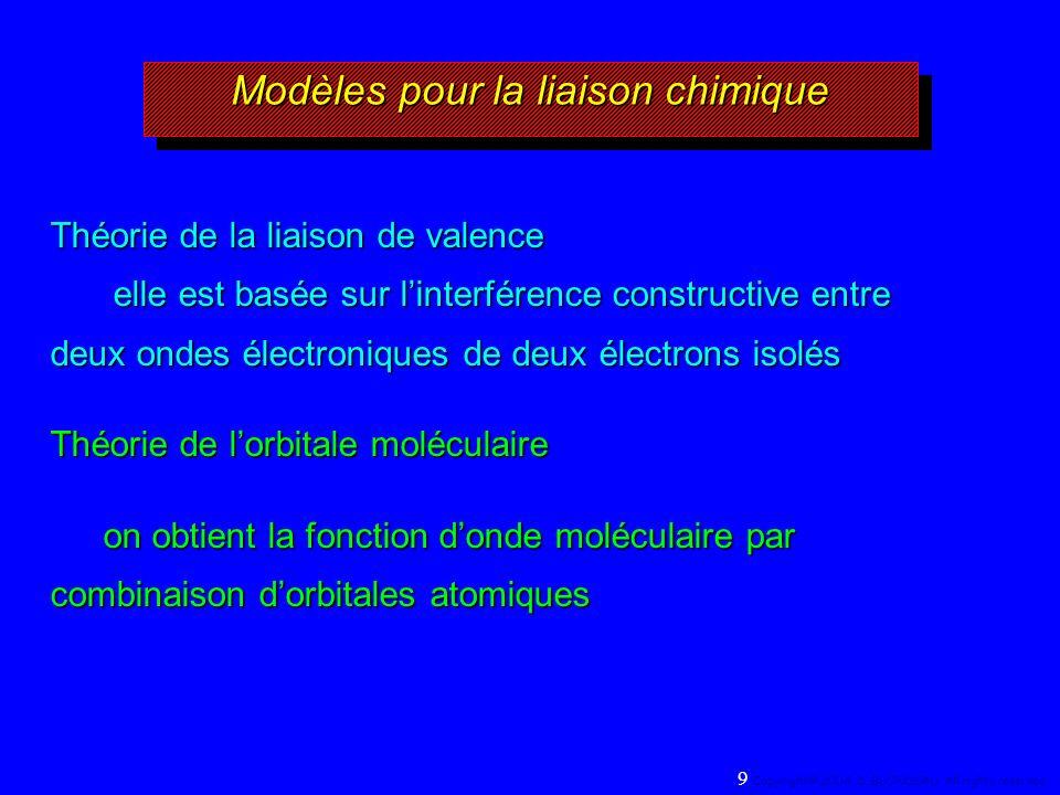 Modèles pour la liaison chimique Théorie de la liaison de valence elle est basée sur linterférence constructive entre deux ondes électroniques de deux électrons isolés Théorie de lorbitale moléculaire on obtient la fonction donde moléculaire par combinaison dorbitales atomiques 9 Copyright© 2004, D.