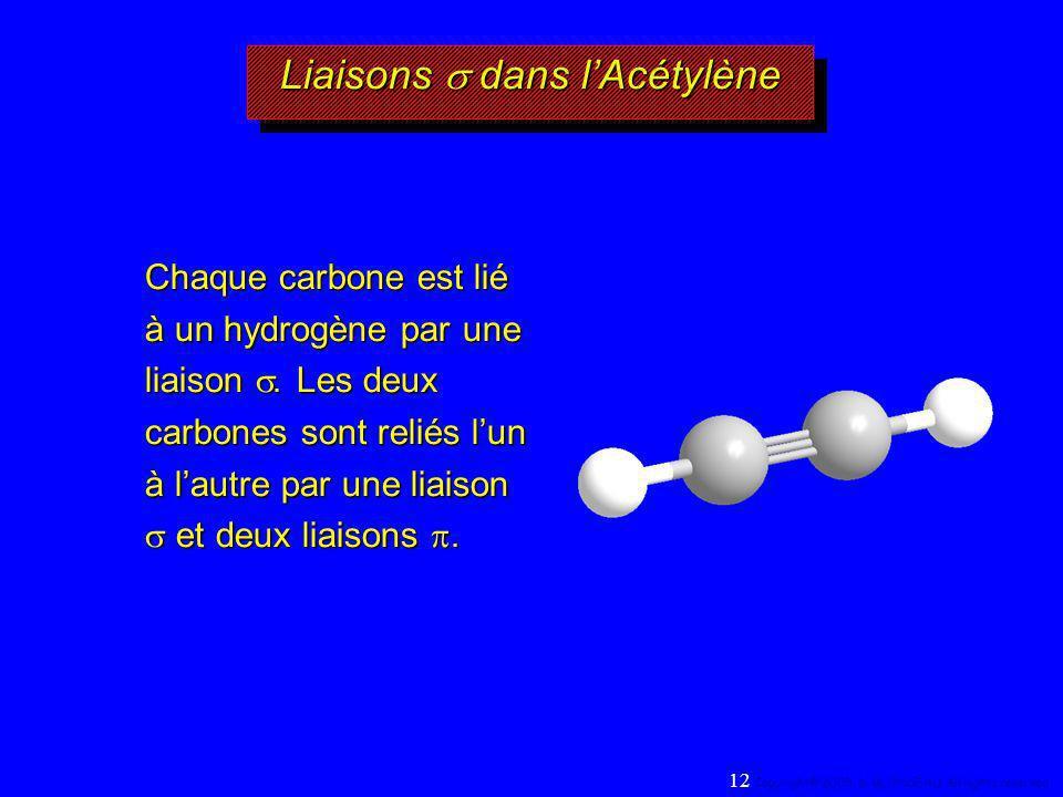 Liaisons dans lAcétylène Chaque carbone est lié à un hydrogène par une liaison. Les deux carbones sont reliés lun à lautre par une liaison et deux lia