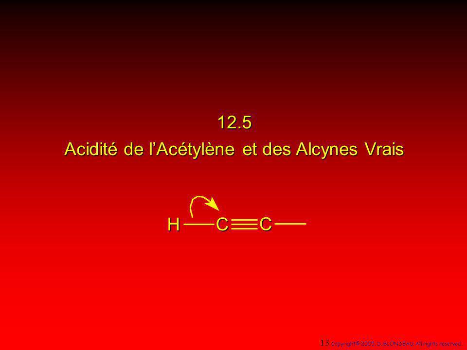 12.5 Acidité de lAcétylène et des Alcynes Vrais H C C 13 Copyright© 2005, D. BLONDEAU. All rights reserved.