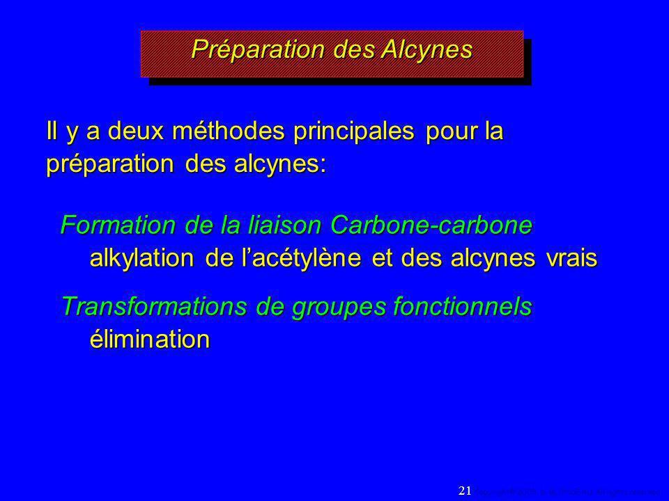 Préparation des Alcynes Formation de la liaison Carbone-carbone alkylation de lacétylène et des alcynes vrais Transformations de groupes fonctionnels