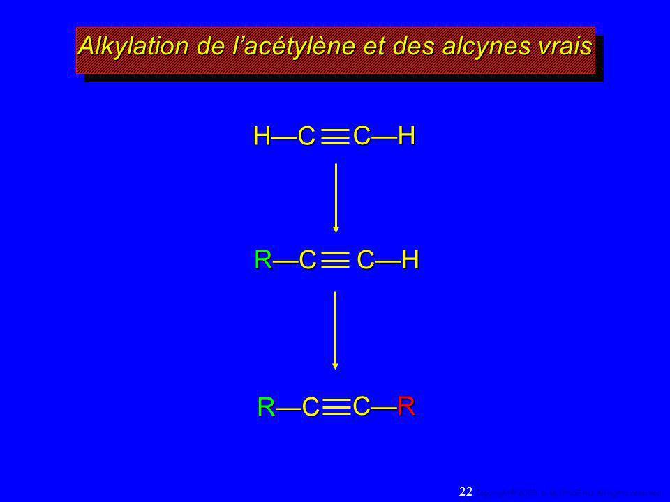 Alkylation de lacétylène et des alcynes vrais HC CH RCRCRCRCCH RCRCRCRC CRCRCRCR 22 Copyright© 2005, D. BLONDEAU. All rights reserved.