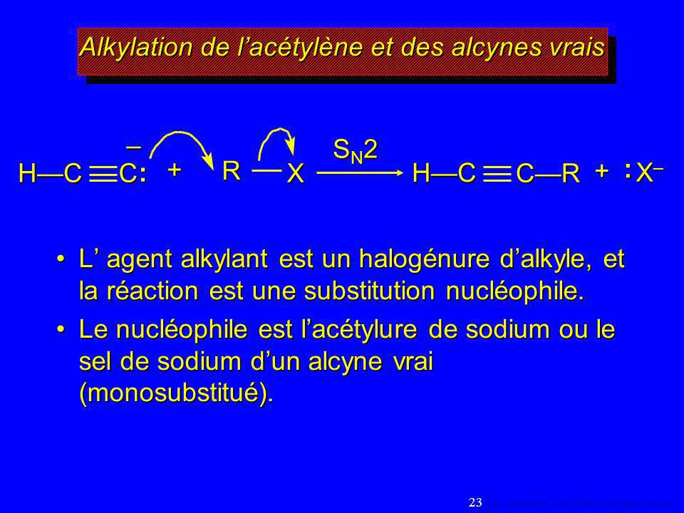 RX SN2SN2SN2SN2 X–X–X–X–:+ C–: HC CRHC+ L agent alkylant est un halogénure dalkyle, et la réaction est une substitution nucléophile.L agent alkylant e