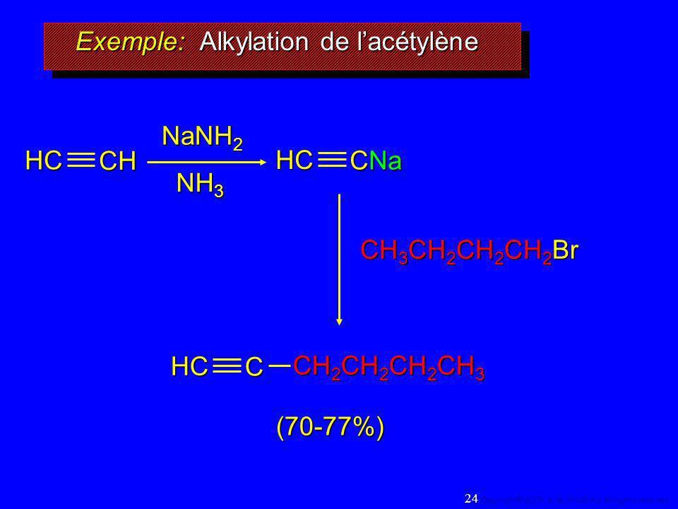 Exemple: Alkylation de lacétylène NaNH 2 NH 3 CH 3 CH 2 CH 2 CH 2 Br (70-77%)HCCH HC CNa HC C CH 2 CH 2 CH 2 CH 3 24 Copyright© 2005, D. BLONDEAU. All