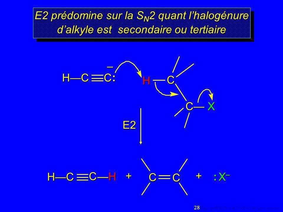 E2 prédomine sur la S N 2 quant lhalogénure dalkyle est secondaire ou tertiaire H C C X E2 C–: HC + C HC H C C X–X–X–X– : + 28 Copyright© 2005, D. BLO