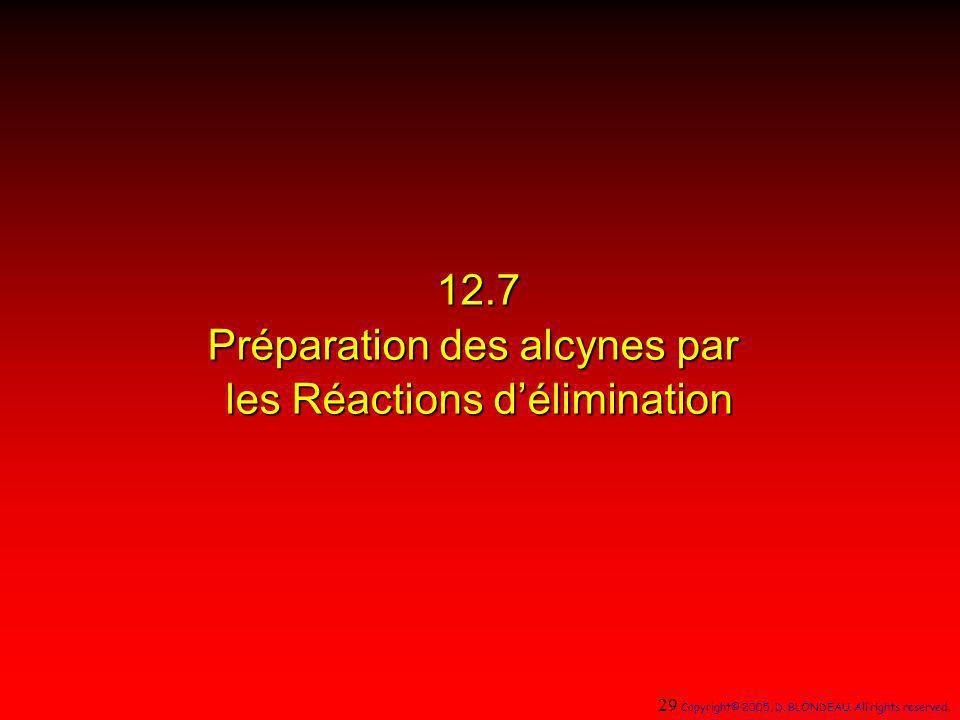 12.7 Préparation des alcynes par les Réactions délimination 29 Copyright© 2005, D. BLONDEAU. All rights reserved.