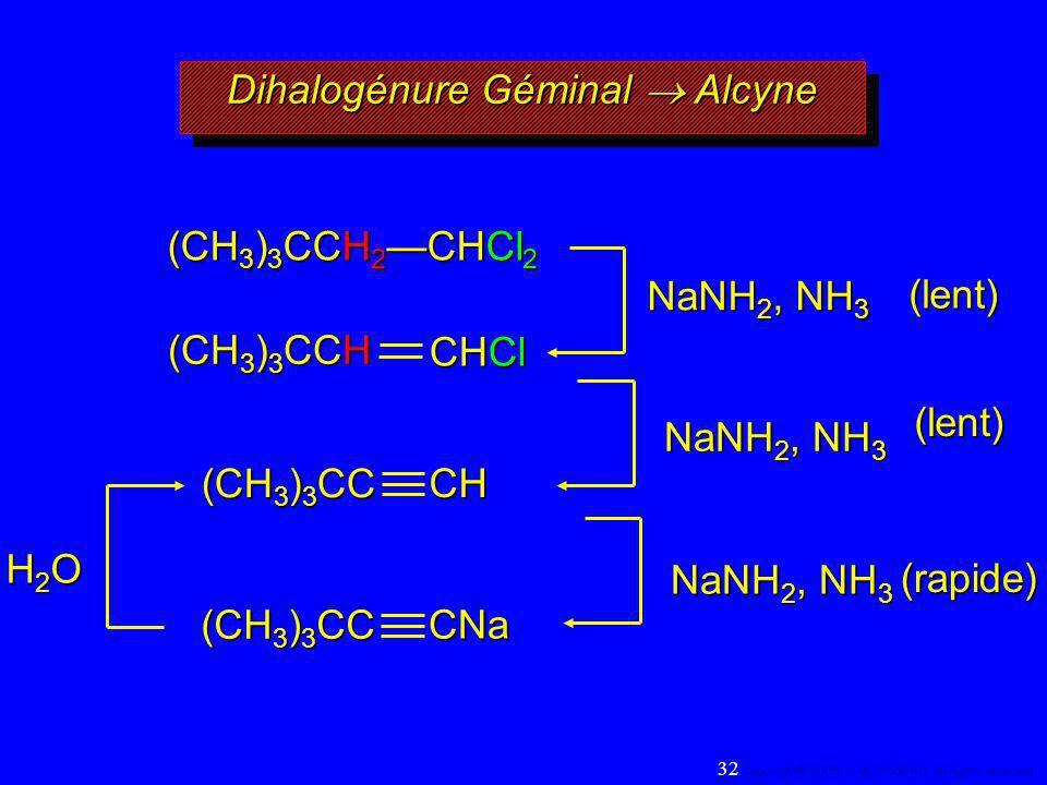 NaNH 2, NH 3 H2OH2OH2OH2O (CH 3 ) 3 CCH 2 CHCl 2 (CH 3 ) 3 CCH CHCl (CH 3 ) 3 CC CH CNa(lent) (lent) (rapide) Dihalogénure Géminal Alcyne 32 Copyright