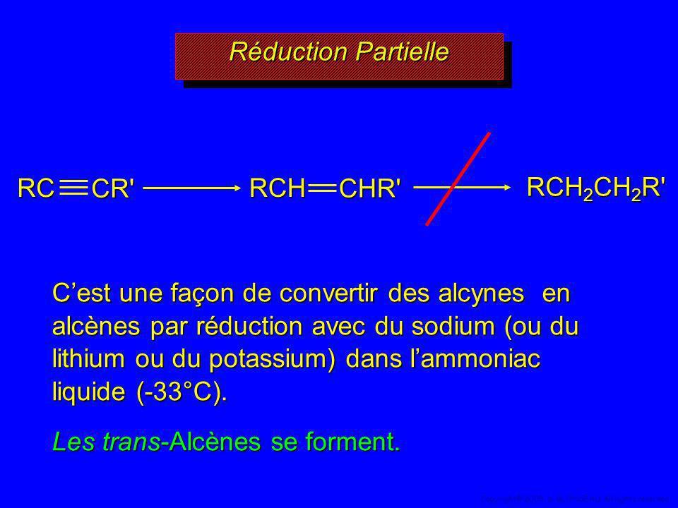 Réduction Partielle RCH 2 CH 2 R' Cest une façon de convertir des alcynes en alcènes par réduction avec du sodium (ou du lithium ou du potassium) dans