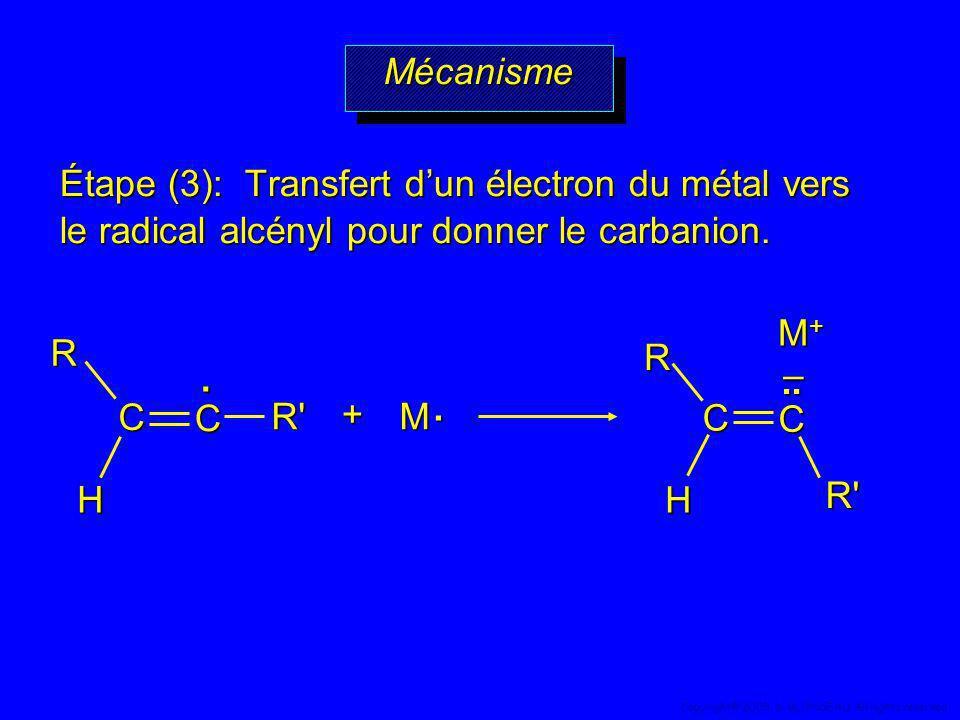 Étape (3): Transfert dun électron du métal vers le radical alcényl pour donner le carbanion. M. +. R' R C C H M+M+M+M+R' R C C H.. – MécanismeMécanism
