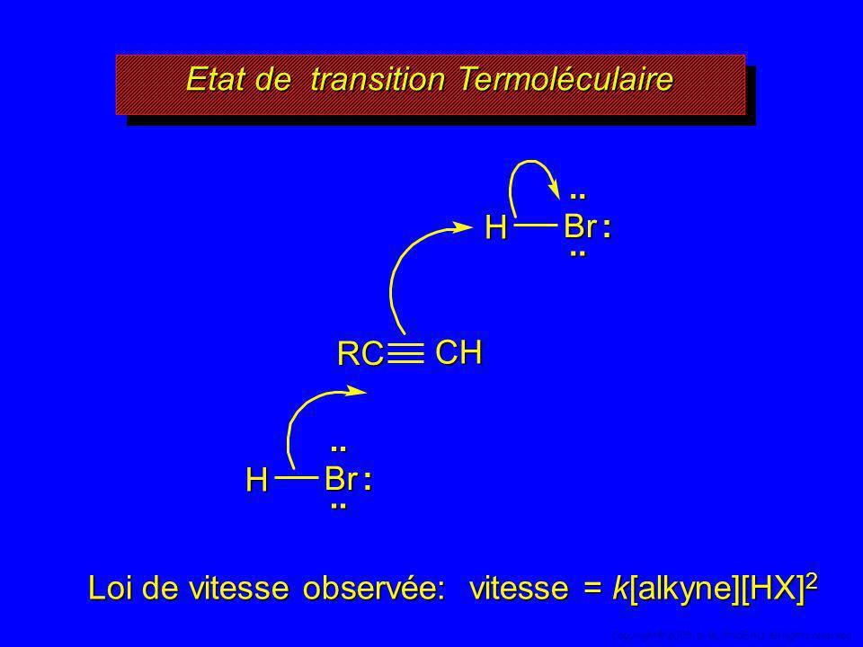 CH Etat de transition Termoléculaire..Br H :.. RC..Br H :.. Loi de vitesse observée: vitesse = k[alkyne][HX] 2 55 Copyright© 2005, D. BLONDEAU. All ri