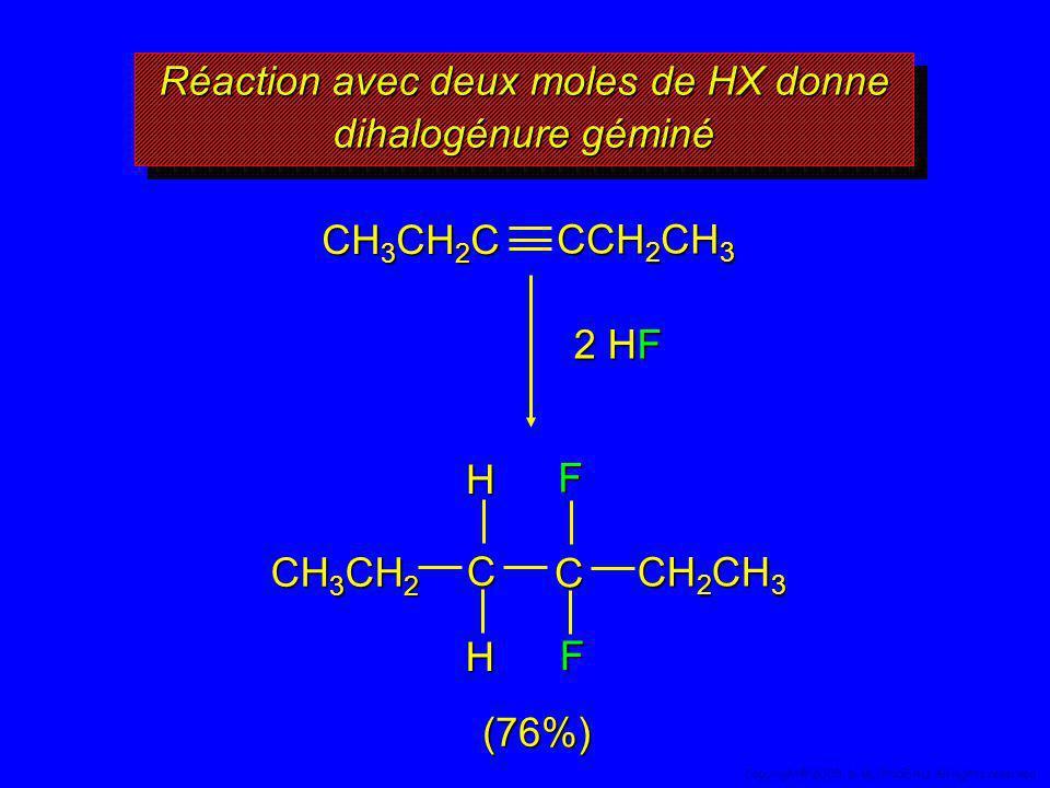 Réaction avec deux moles de HX donne dihalogénure géminé (76%) CH 3 CH 2 C CCH 2 CH 3 2 HF F F C CHH CH 3 CH 2 CH 2 CH 3 56 Copyright© 2005, D. BLONDE