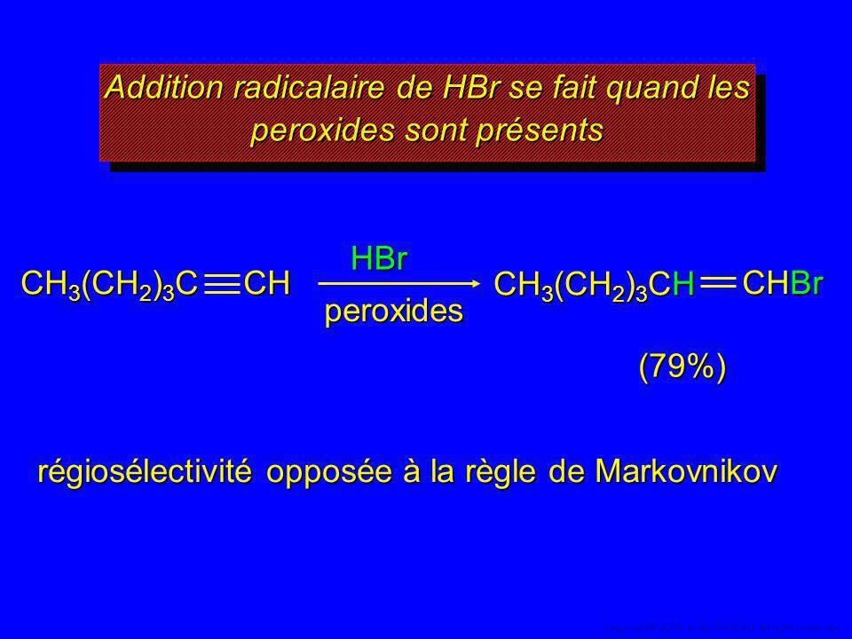 Addition radicalaire de HBr se fait quand les peroxides sont présents Addition radicalaire de HBr se fait quand les peroxides sont présents HBr (79%)