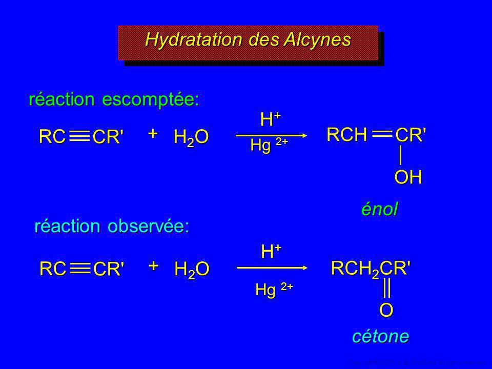 Hydratation des Alcynes réaction escomptée: énol réaction observée: RCH 2 CR' O H+H+H+H+RC CR' H2OH2OH2OH2O + H+H+H+H+RCCR' H2OH2OH2OH2O + OHRCHCR' cé