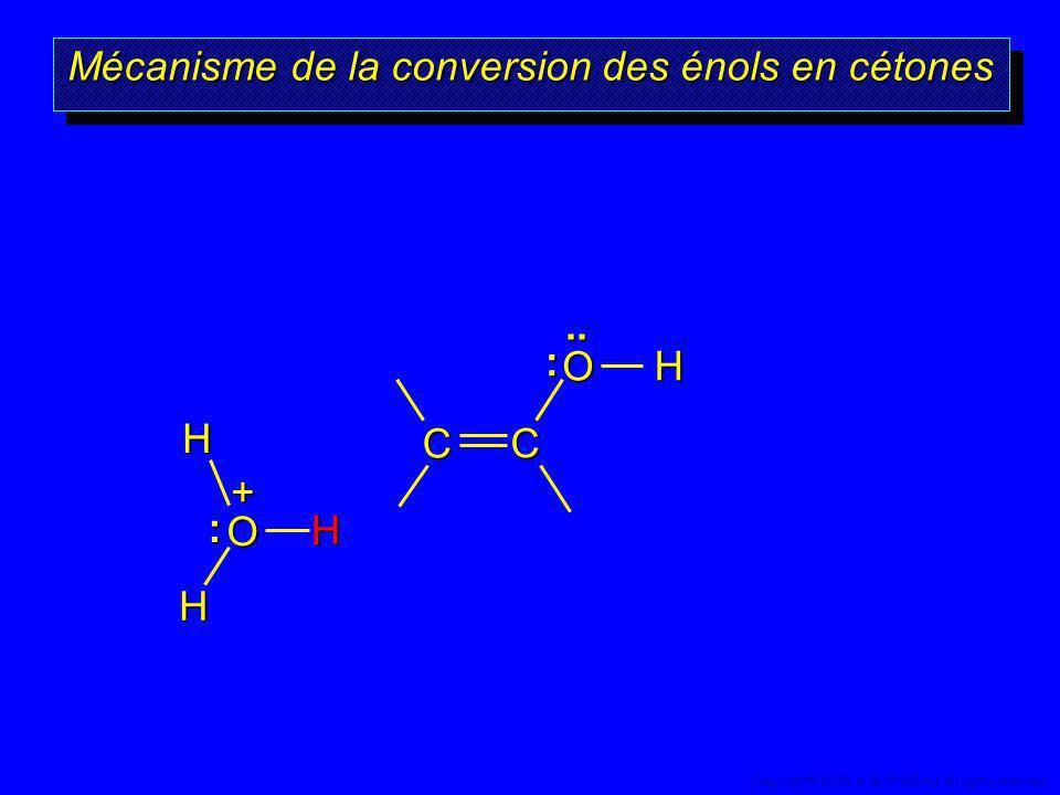 Mécanisme de la conversion des énols en cétones OHC C H + O H H :.. : 61 Copyright© 2005, D. BLONDEAU. All rights reserved.