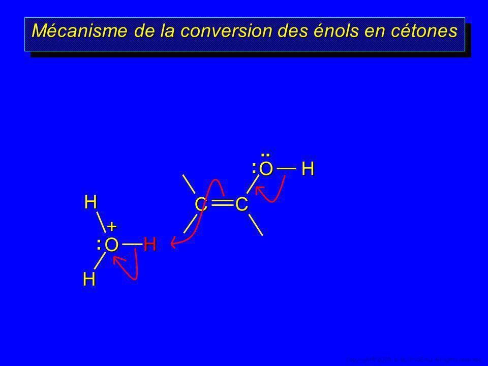 OHC C H + O H H :.. : Mécanisme de la conversion des énols en cétones 62 Copyright© 2005, D. BLONDEAU. All rights reserved.