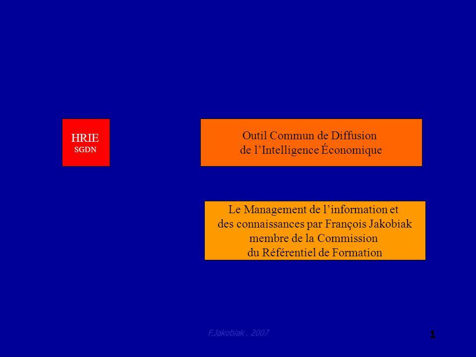 F.Jakobiak. 2007 1 Outil Commun de Diffusion de lIntelligence Économique HRIE SGDN Le Management de linformation et des connaissances par François Jak