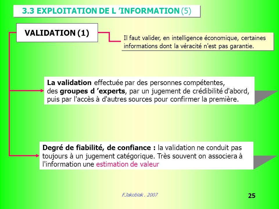 F.Jakobiak. 2007 25 3.3 EXPLOITATION DE L INFORMATION (5) VALIDATION (1) Il faut valider, en intelligence économique, certaines informations dont la v