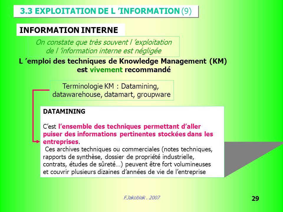 F.Jakobiak. 2007 29 3.3 EXPLOITATION DE L INFORMATION (9) INFORMATION INTERNE On constate que très souvent l exploitation de l information interne est