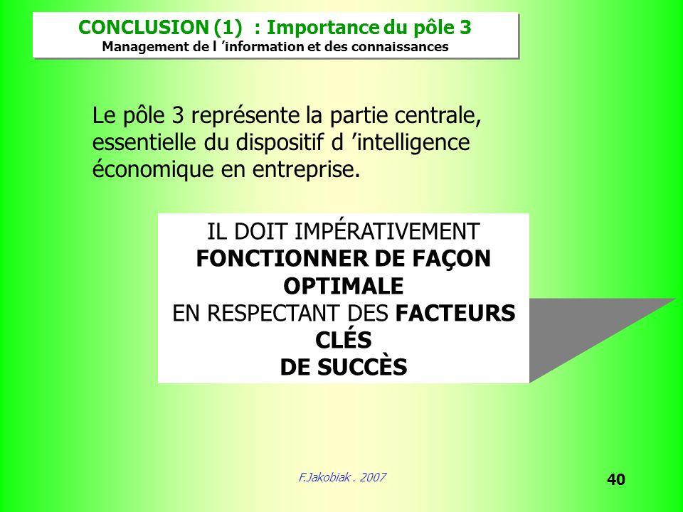 F.Jakobiak. 2007 40 CONCLUSION (1) : Importance du pôle 3 Management de l information et des connaissances CONCLUSION (1) : Importance du pôle 3 Manag