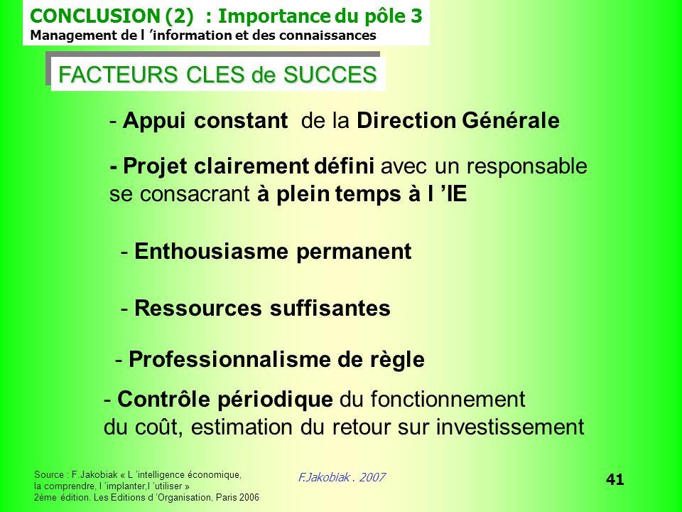 F.Jakobiak. 2007 41 FACTEURS CLES de SUCCES FACTEURS CLES de SUCCES - Appui constant de la Direction Générale - Projet clairement défini avec un respo