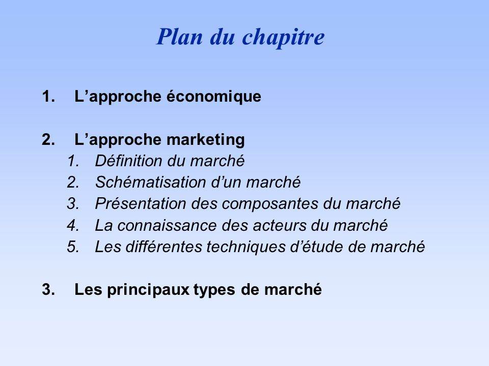 Plan du chapitre 1.Lapproche économique 2.Lapproche marketing 1.Définition du marché 2.Schématisation dun marché 3.Présentation des composantes du mar