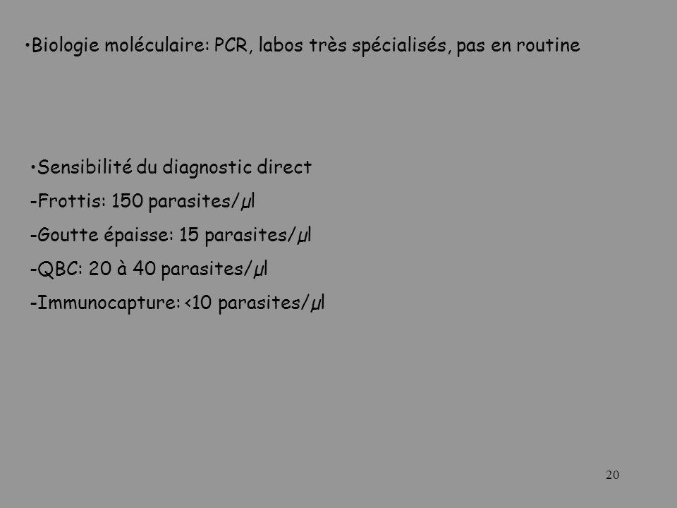20 Biologie moléculaire: PCR, labos très spécialisés, pas en routine Sensibilité du diagnostic direct -Frottis: 150 parasites/µl -Goutte épaisse: 15 p