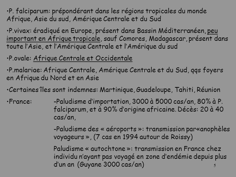 5 P. falciparum: prépondérant dans les régions tropicales du monde Afrique, Asie du sud, Amérique Centrale et du Sud P.vivax: éradiqué en Europe, prés