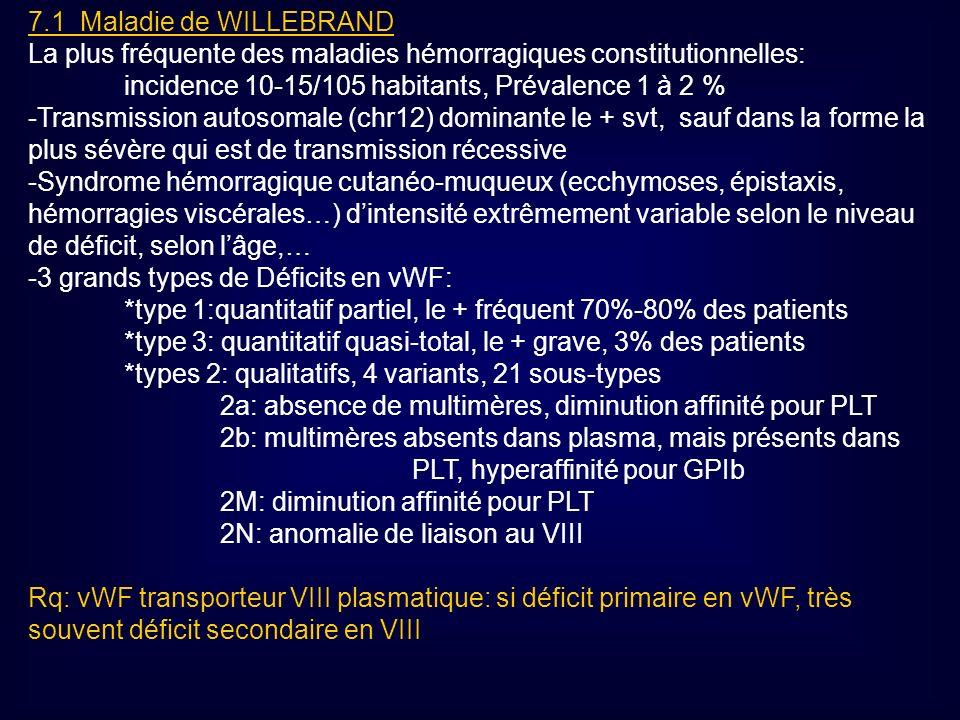 7.1 Maladie de WILLEBRAND La plus fréquente des maladies hémorragiques constitutionnelles: incidence 10-15/105 habitants, Prévalence 1 à 2 % -Transmis
