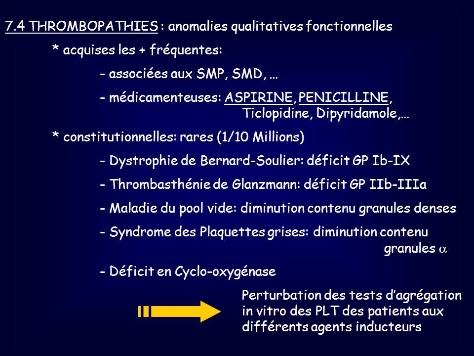 7.4 THROMBOPATHIES : anomalies qualitatives fonctionnelles * acquises les + fréquentes: - associées aux SMP, SMD, … - médicamenteuses: ASPIRINE, PENIC