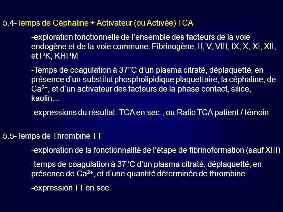 5.4-Temps de Céphaline + Activateur (ou Activée) TCA -exploration fonctionnelle de lensemble des facteurs de la voie endogène et de la voie commune: F