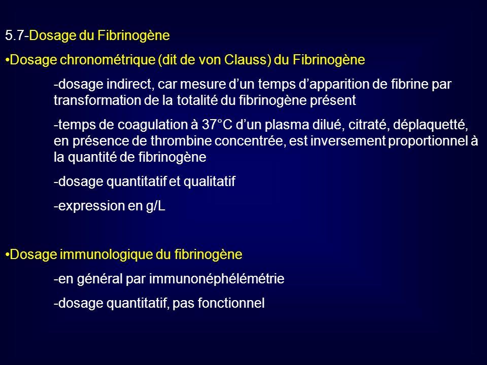 5.7-Dosage du Fibrinogène Dosage chronométrique (dit de von Clauss) du Fibrinogène -dosage indirect, car mesure dun temps dapparition de fibrine par t