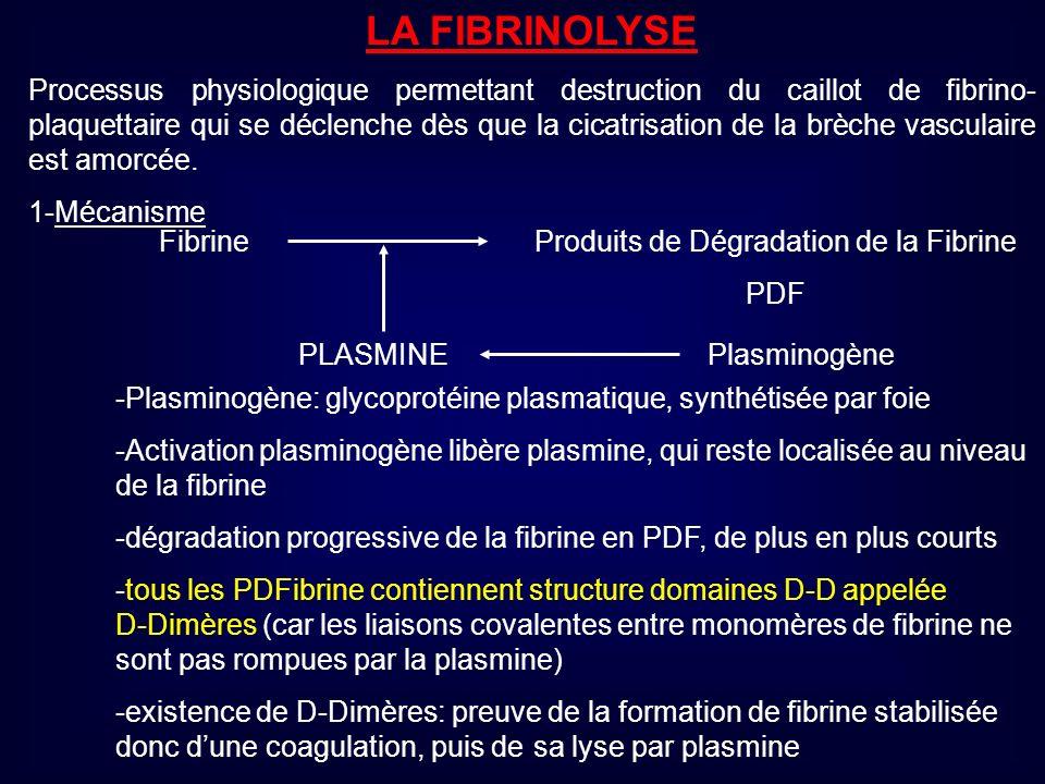 LA FIBRINOLYSE Processus physiologique permettant destruction du caillot de fibrino- plaquettaire qui se déclenche dès que la cicatrisation de la brèc