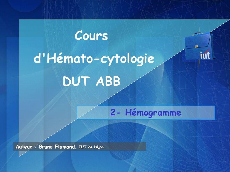 Numération GB: Leucopénie Hyperleucocytose Formule leucocytaire: répartition des différentes sous- populations de leucocytes -FL manuelle par lecture microscopique de frottis coloré au MGG (100 à 200 leucocytes répertoriés) -FL automatisée (5000 à 10000 leucocytes répertoriés) Les résultats sont rendus en valeur relative % et en valeur absolue par mm 3 mais linterprétation nest valable que sur les valeurs absolues GNNeutropénie Polynucléose GE(hyper)Eosinophilie > VN GBBasocytose > VN LLymphopénie Hyperlymphocytose MMonocytopénie Monocytose