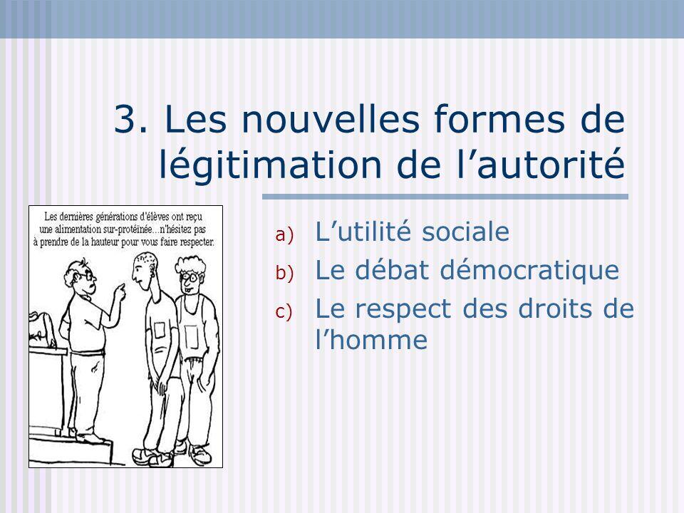 3. Les nouvelles formes de légitimation de lautorité a) Lutilité sociale b) Le débat démocratique c) Le respect des droits de lhomme