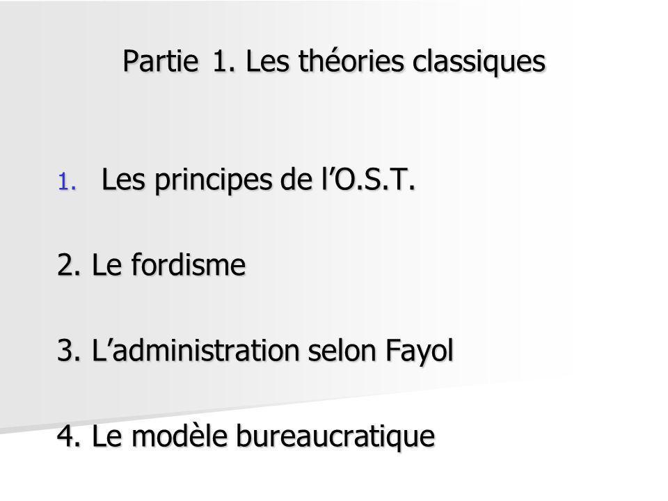 Partie 1. Les théories classiques 1. Les principes de lO.S.T. 2. Le fordisme 3. Ladministration selon Fayol 4. Le modèle bureaucratique
