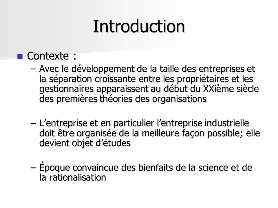Introduction Contexte : Contexte : –Avec le développement de la taille des entreprises et la séparation croissante entre les propriétaires et les gest