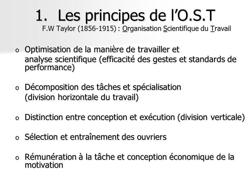 1.Les principes de lO.S.T F.W Taylor (1856-1915) : Organisation Scientifique du Travail o Optimisation de la manière de travailler et analyse scientif