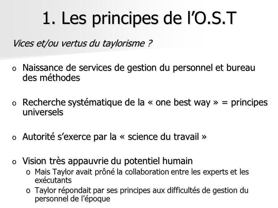 1. Les principes de lO.S.T Vices et/ou vertus du taylorisme ? o Naissance de services de gestion du personnel et bureau des méthodes o Recherche systé