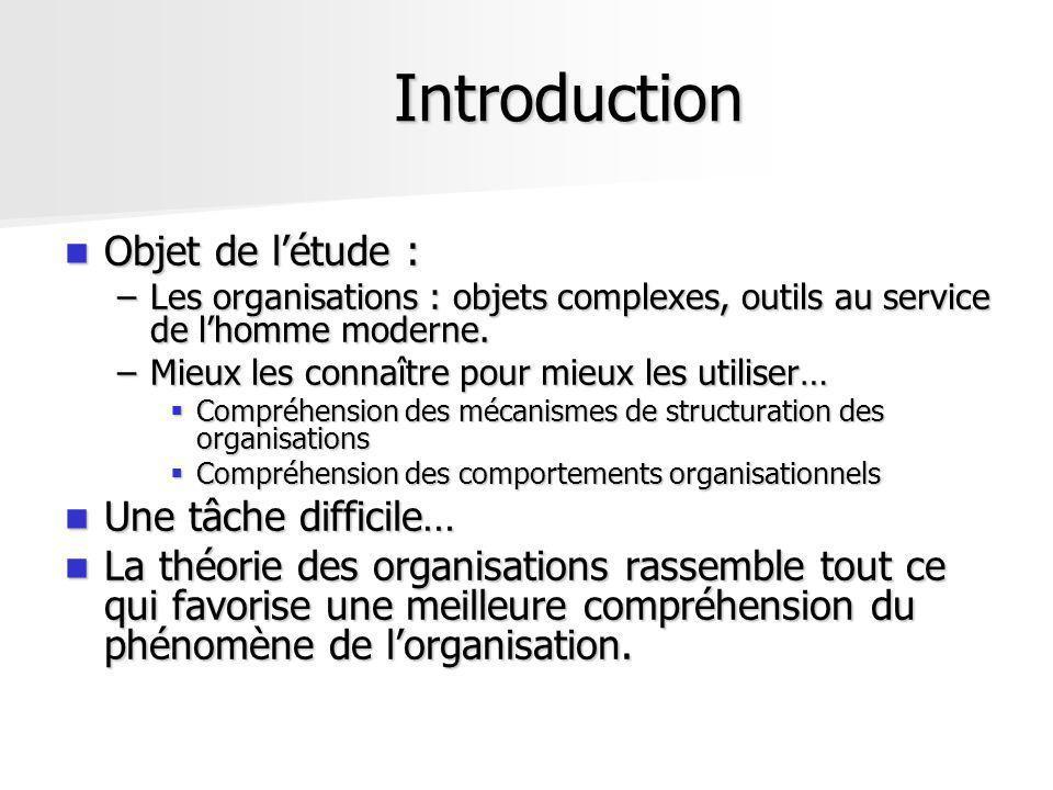 Introduction Objet de létude : Objet de létude : –Les organisations : objets complexes, outils au service de lhomme moderne. –Mieux les connaître pour