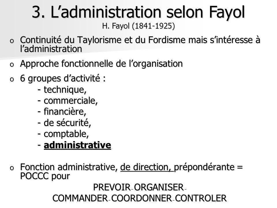 o Continuité du Taylorisme et du Fordisme mais sintéresse à ladministration o Approche fonctionnelle de lorganisation o 6 groupes dactivité : - techni