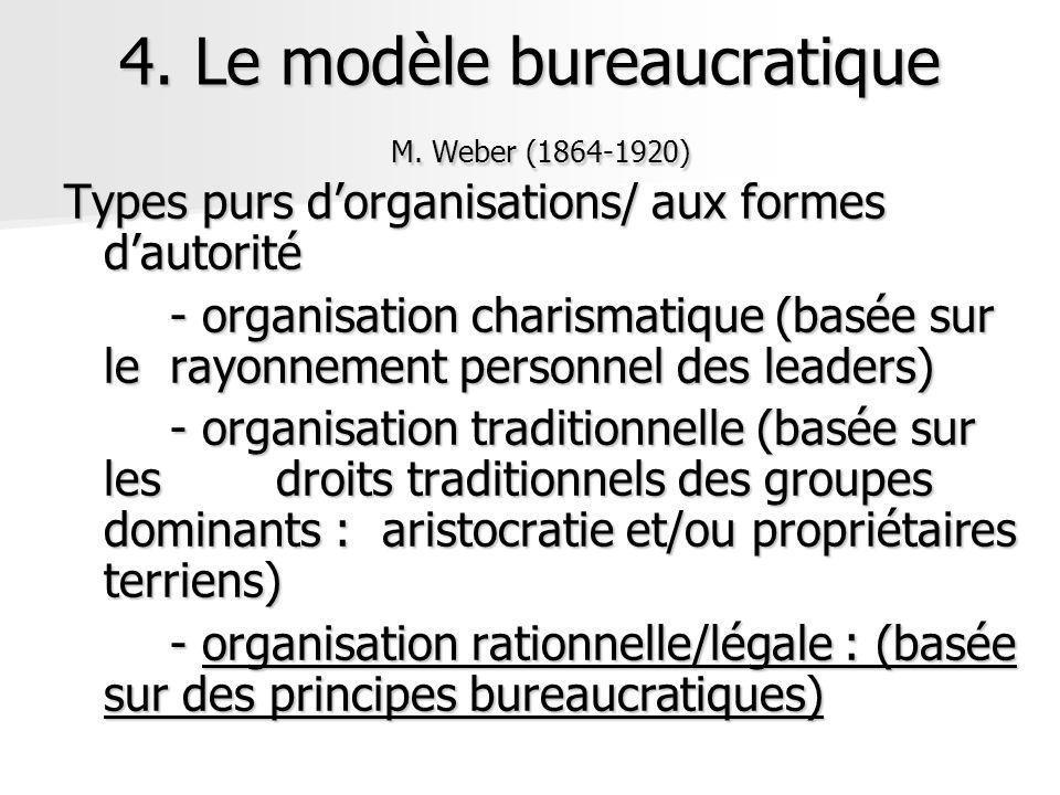 Types purs dorganisations/ aux formes dautorité - organisation charismatique (basée sur le rayonnement personnel des leaders) - organisation tradition