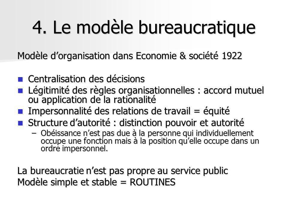 4. Le modèle bureaucratique Modèle dorganisation dans Economie & société 1922 Centralisation des décisions Centralisation des décisions Légitimité des