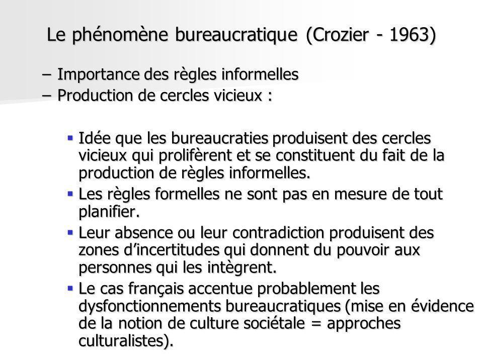 Le phénomène bureaucratique (Crozier - 1963) –Importance des règles informelles –Production de cercles vicieux : Idée que les bureaucraties produisent
