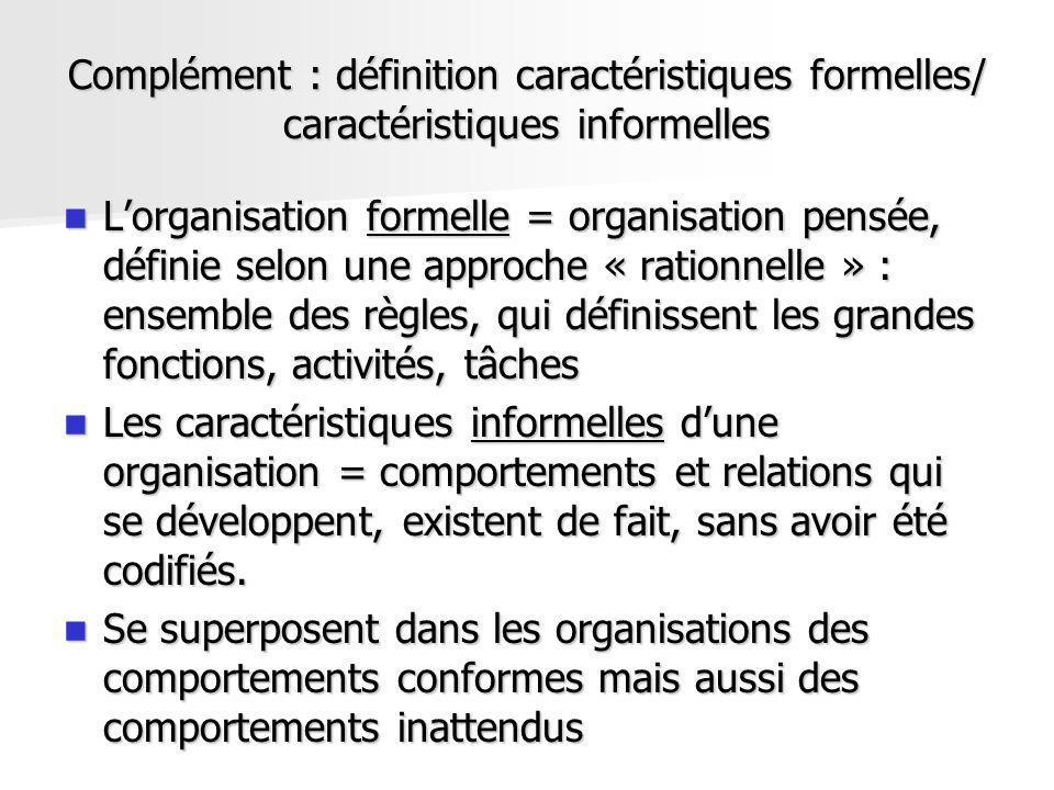 Complément : définition caractéristiques formelles/ caractéristiques informelles Lorganisation formelle = organisation pensée, définie selon une appro