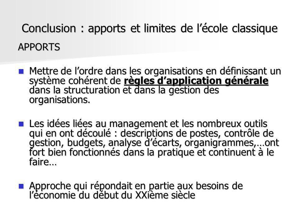 Conclusion : apports et limites de lécole classique APPORTS Mettre de lordre dans les organisations en définissant un système cohérent de règles dappl