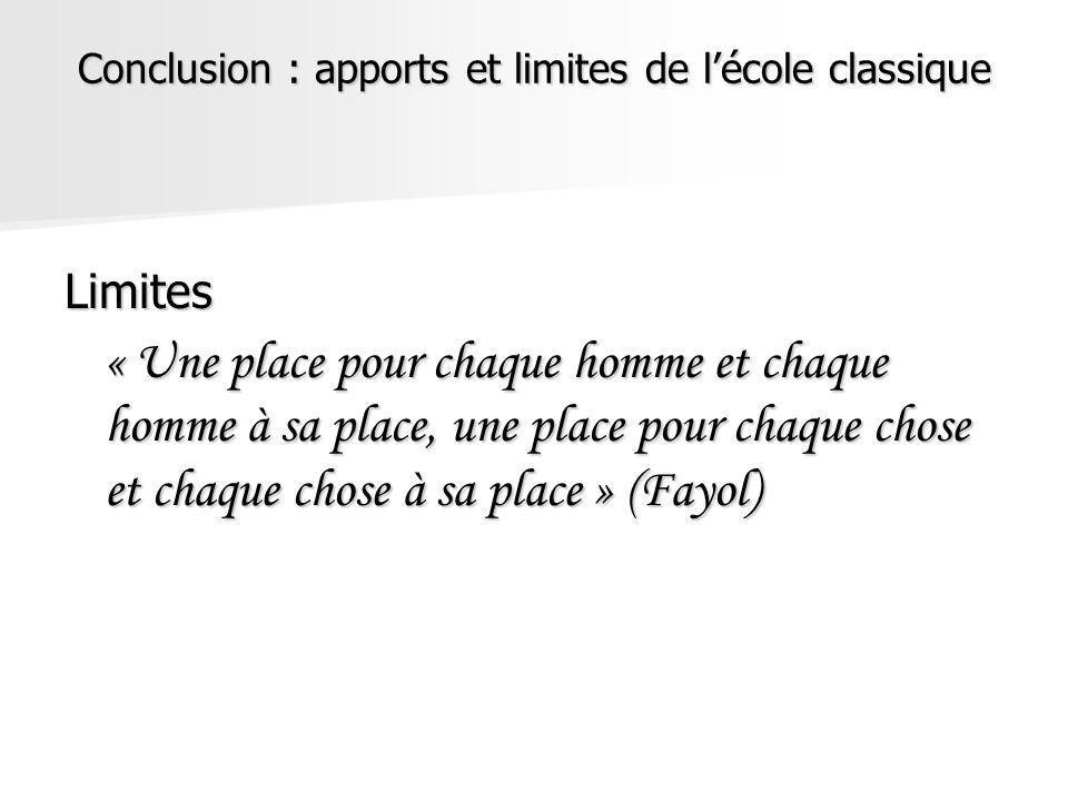 Conclusion : apports et limites de lécole classique Limites « Une place pour chaque homme et chaque homme à sa place, une place pour chaque chose et c