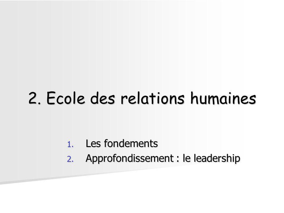 2. Ecole des relations humaines 1. Les fondements 2. Approfondissement : le leadership